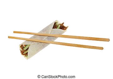 Duck roll and chopsticks
