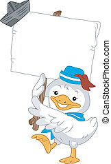Duck Sailor with Blank Board - Illustration of Duck Sailor...