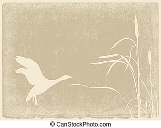 duck silhouette on yellow background