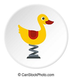 Duck spring see saw icon circle - Duck spring see saw icon ...