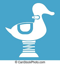 Duck spring see saw icon white isolated on blue background ...
