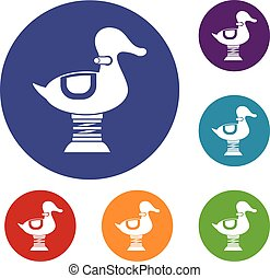 Duck spring see saw icons set in flat circle reb, blue and ...