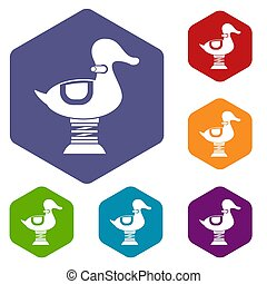 Duck spring see saw icons set rhombus in different colors...