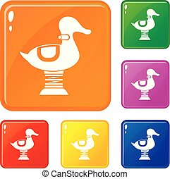 Duck spring see saw icons set vector color - Duck spring see...
