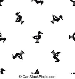 Duck spring see saw pattern seamless black - Duck spring see...