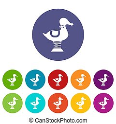 Duck spring see saw set icons in different colors isolated ...