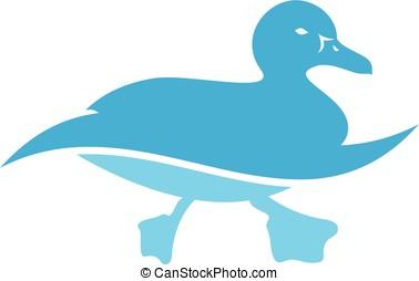 Duck Swims Logo Template
