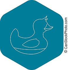 Duck toy icon, outline style