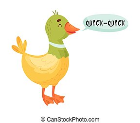 Duck with Open Mouth Making Quack Sound Isolated on White Background Vector Illustration. Funny Animal Emitting Sounds or Tooting
