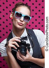 duckface., lunettes, lèvres, appareil-photo., branché, girl, bouder, jouer, singe