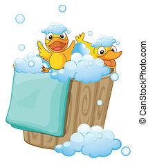 duckling in a foam bucket