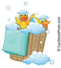 duckling in a foam bucket - illustration of ducklings in a...