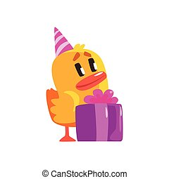 Duckling With Birthday Present Cute Character Sticker