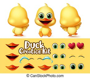 Ducks creation animal characters vector set. Duck animals editable character eyes and mouth kit with different emotion and feeling for duckling cartoon collection vector illustration