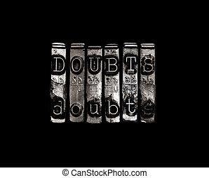duda, concepto, o, dudas