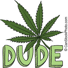 Doodle style dude marijuana leaf sketch in vector format. Includes text and pot plant.