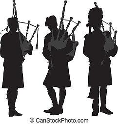 dudelsackspieler, silhouette