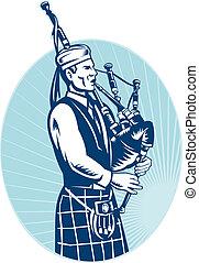 dudelsackspieler, spielende , schottische , groß, hochland,...