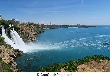 Duden Waterfall at the Cliffs of Antalya - Turkey - Duden...