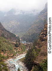 Dudh Kosi river valley, Everest trail, Nepal