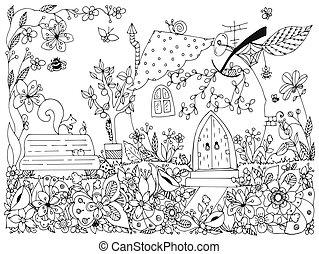 dudling., mela, primavera, house., anti, giardino, coloritura, fiori, mele, nero, forma, natura, zenart, illustrazione, panca, white., zentangl, adults., stress, scarabocchiare, parks., books., albero, racconto, vettore, fata, altalena, adulto