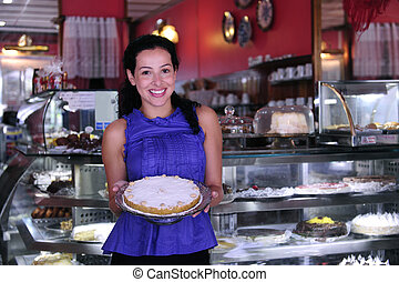 dueño, de, un, pequeña empresa, tienda, actuación, ella, sabroso, pasteles