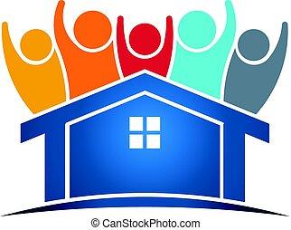 dueño, hogar, gente, logotipo