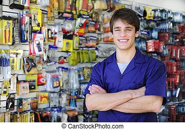 dueño, hogar, tiendas, retrato, mejora