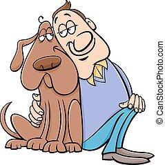 dueño, perro, ilustración, caricatura