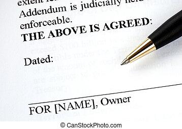 dueño, pluma, documento, legal, señales