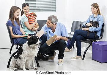 dueños, área, se agachar, esperar, mascotas, enfermera, ...