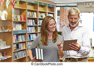 dueños, tableta, librería, hembra, digital, utilizar, macho