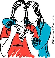 due, abbracciare, vettore, illustrazione, amici, donne
