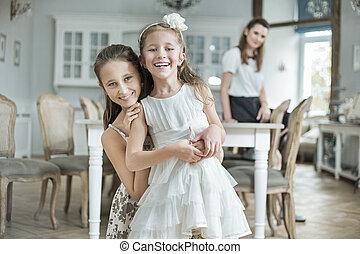 due, allegro, figlie, proposta, con, madre
