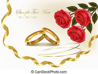 due, anelli nozze, e, rose, bouquet., vettore, illustration.