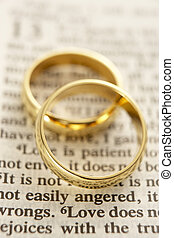 due, anelli nozze, rimanendo, uno, bibbia, pagina