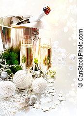 due, anno, nuovo, champagne, celebration., occhiali