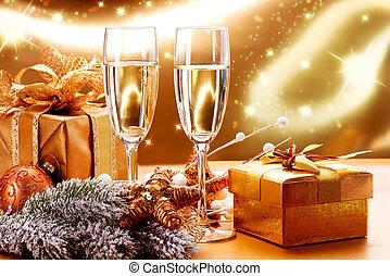 due, anno, nuovo, champagne, natale, celebration., occhiali