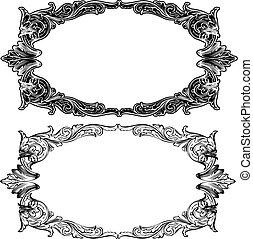 due, anticaglia, cornice, incisione, scalable, e, editable, vettore, illustrazione