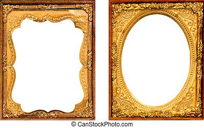 due, anticaglia, oro, cornice metallo
