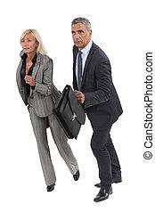 due, anziano, businesspeople, circa, correre, altro