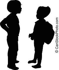 due bambini, parlare, silhouette, ve