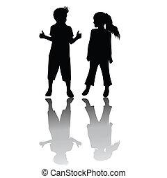 due bambini, silhouette