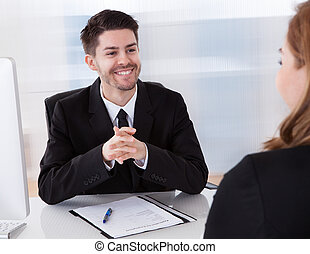 due, businesspeople, parlare, con, altro
