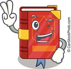 due, cartone animato, incantesimo, libro, dito, magia, scaffale