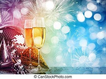 due, contro, anno, nuovo, bicchieri champagne