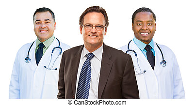 due, corsa mescolata, dottori, dietro, uomo affari, isolato, bianco
