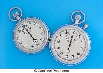 due, cronometro, su, blu