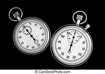 due, cronometro, su, nero