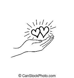due, cuore, amore, in, tuo, mano., forte, famiglia, icon., risparmiare, amore, concetto